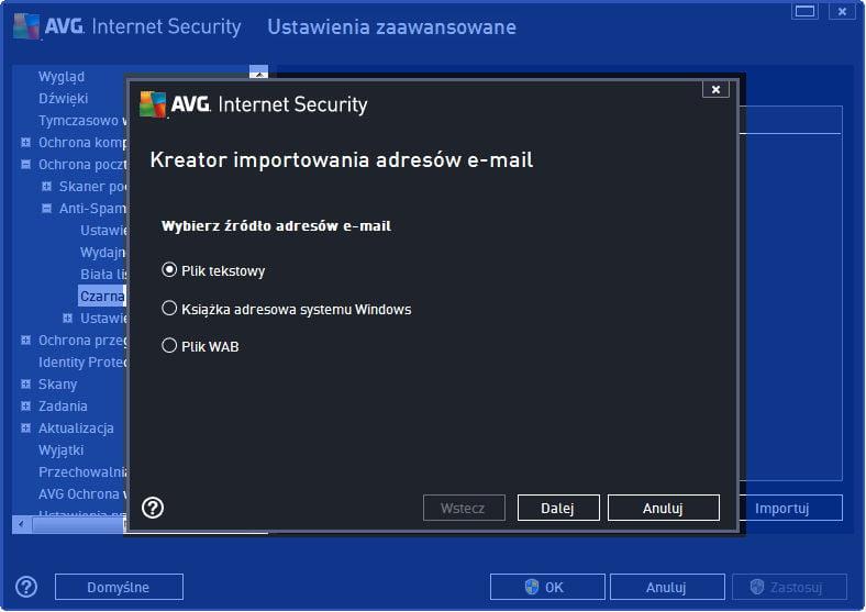 AVG_poczta_011 - importowanie listy adresów e-mail