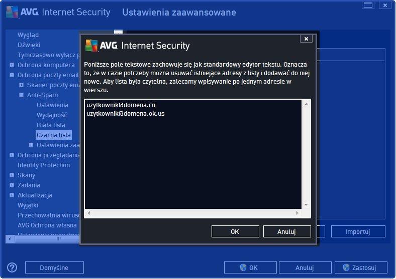 AVG_poczta_013 - ekran importu kontaktów