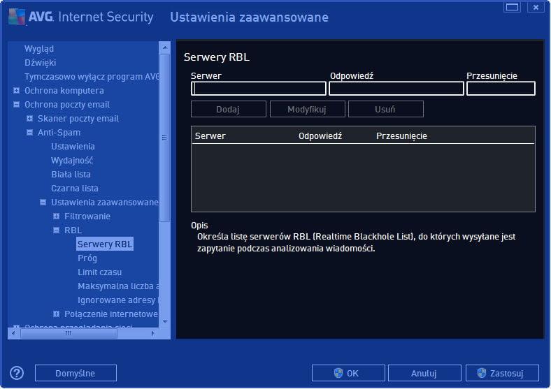 AVG_poczta_014 - okno ustawień zaaawansowanych serwera RBL w Internet Security