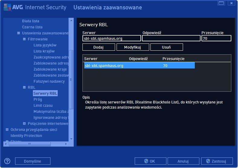 AVG_poczta_015 - sposób wypełnienia okna ustawień serwera RBL w AVG Internet Security 2014