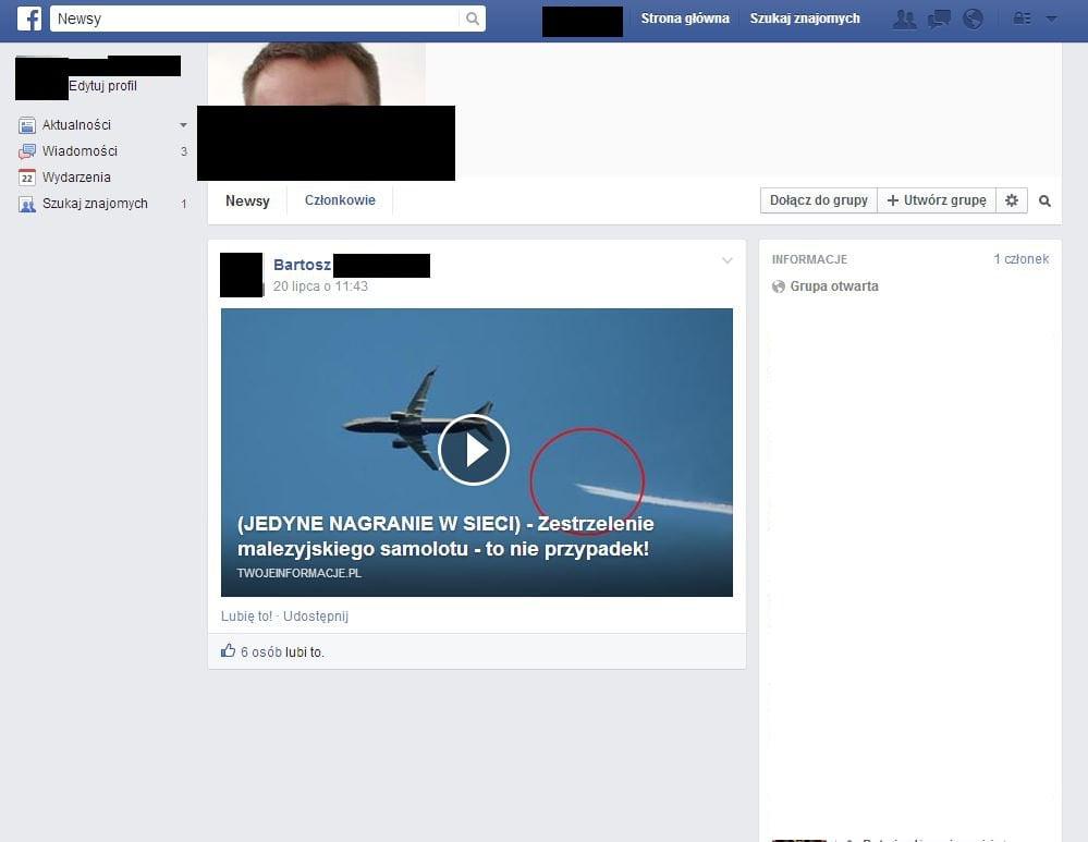 Przykład fałszywego konta wypuszczającego likejacking.