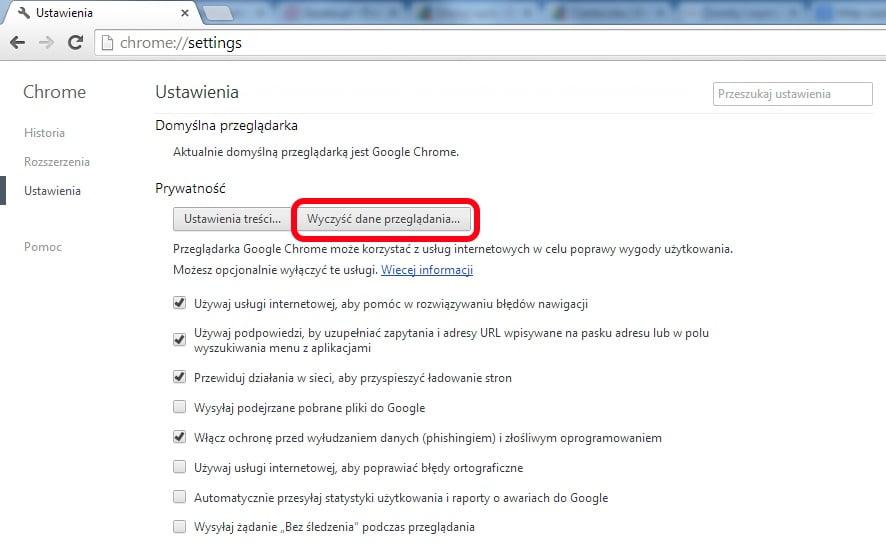 Google Chrome - ustawienia zaawansowane