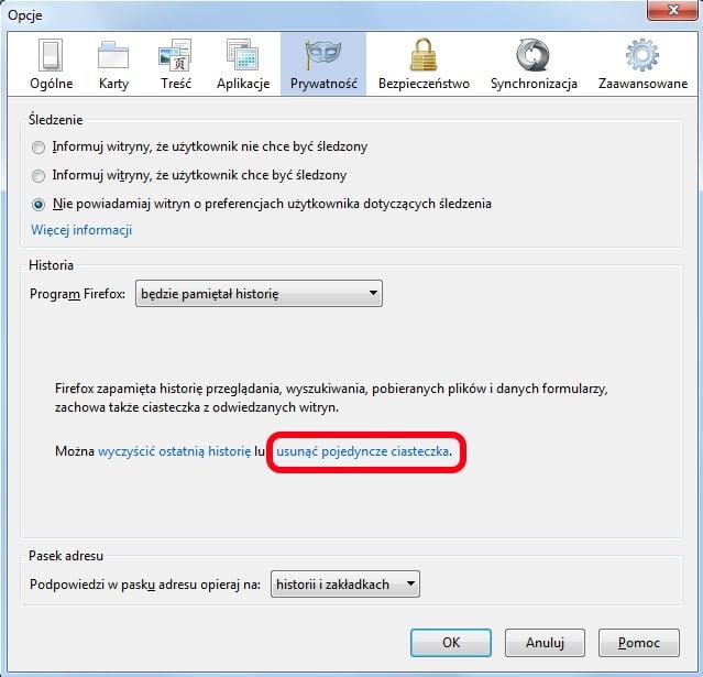 Firefox - opcje prywatności