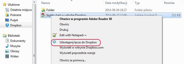 Dropbox - tworzenie łącza za pomocą aplikacji