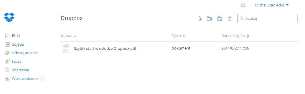Dropbox - główne okno dysku