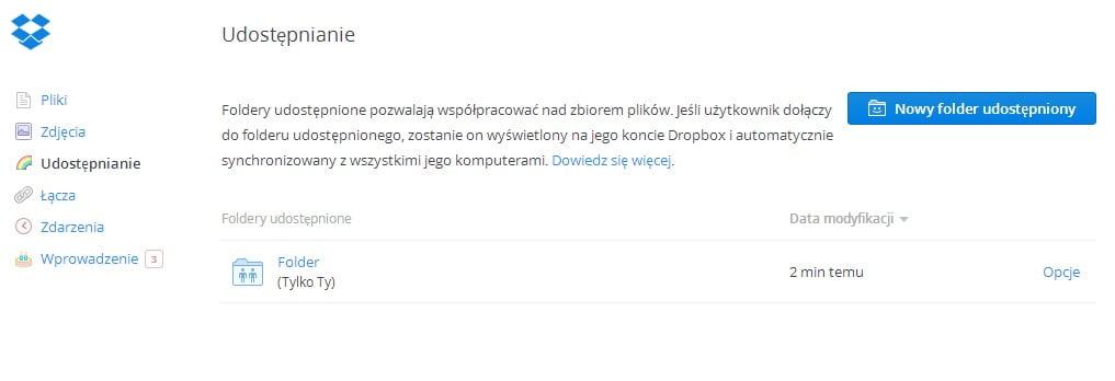 Dropbox - udostępnione foldery