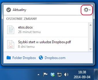 Dropbox - ustawienia
