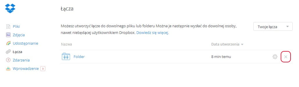 Dropbox - usuwanie łącza