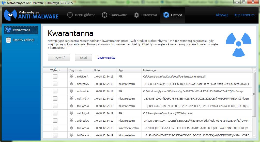 Malwarebytes kwarantanna