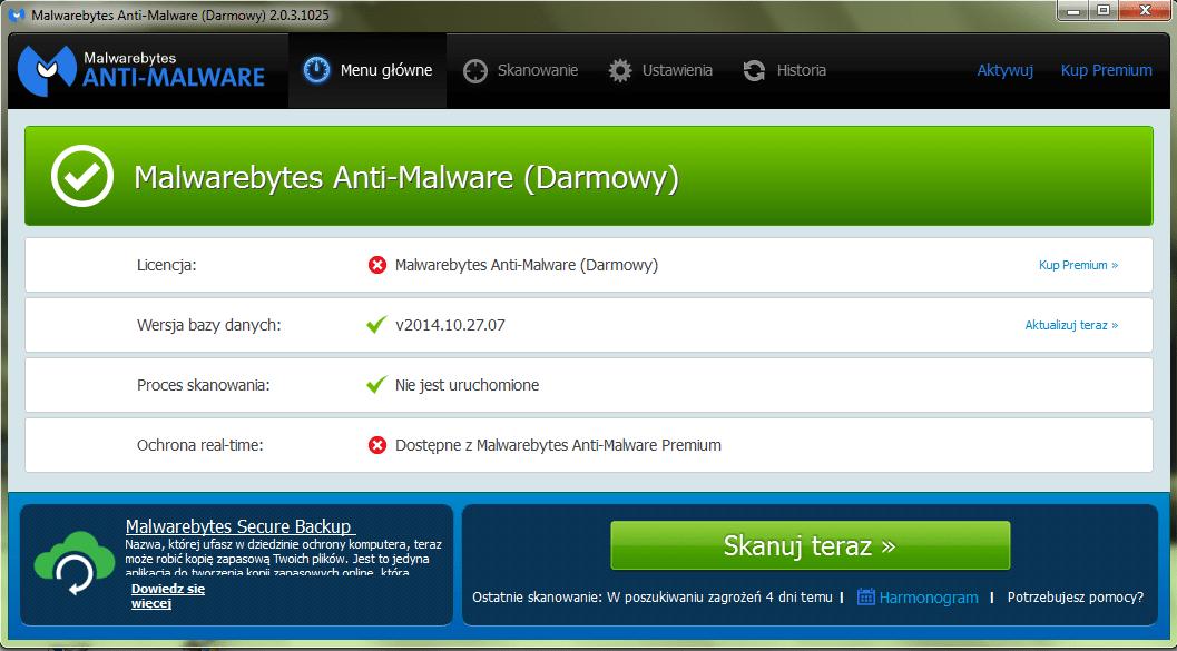 Interfejs Malwarebytes