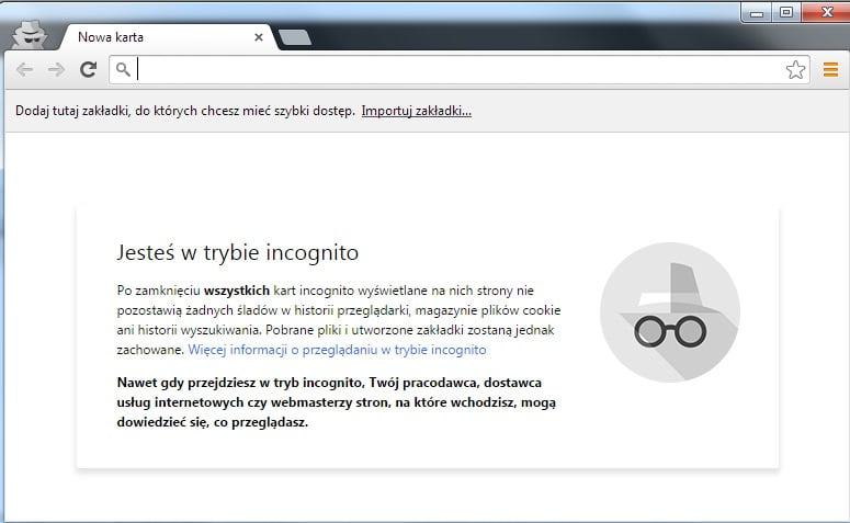 Google Chrome - Tryb Incognito