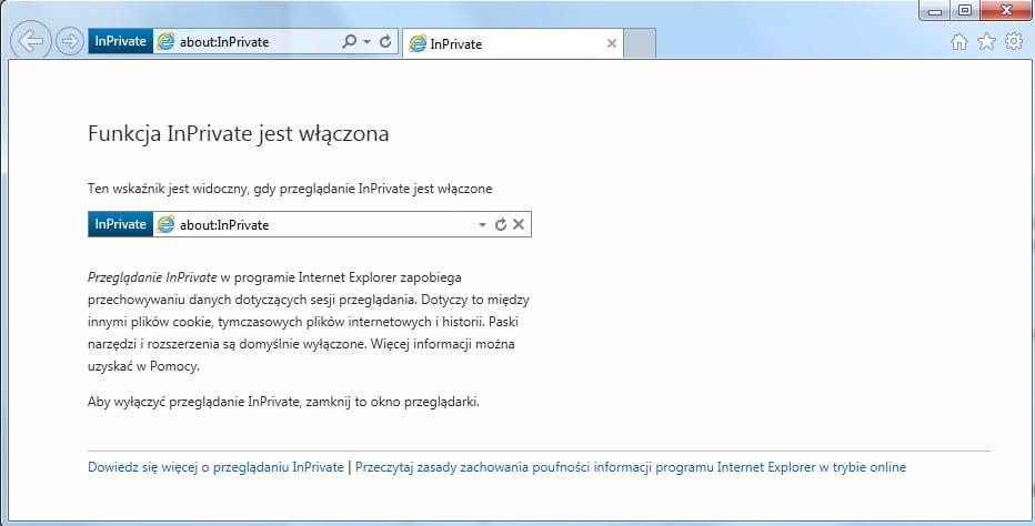 Internet Explorer - tryb InPrivate