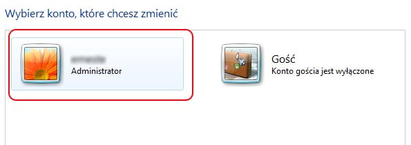 Windows 7 - wybór konta administratora