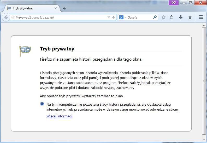 Mozilla Firefox - Tryb Prywatny