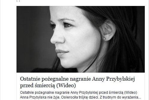 Śmierć Anny przybylskiej