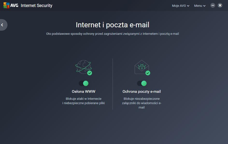 Dzięki zakładki mail, możesz w szybki sposób przejść do swojego konta w AVG MyAccount