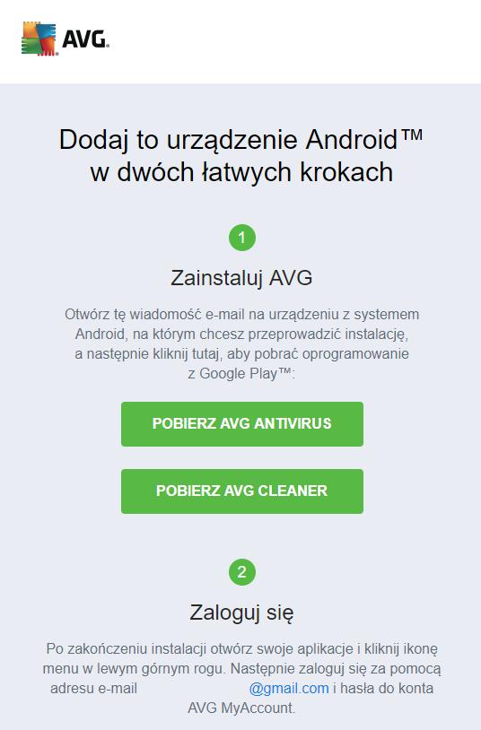 Podczas dodawania urządzenia do sieci AVG ZEN antywirus, dostaniesz zaproszenie na maila.