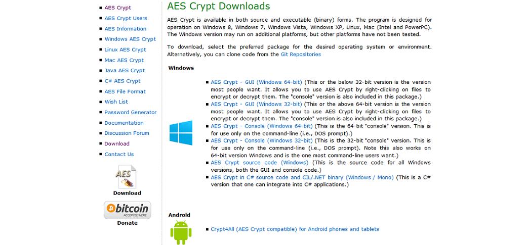 Strona programu AES Crypt
