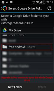 Ekran wyboru folderu w Google Drive