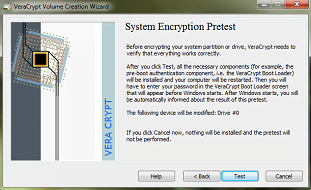 Pretest w programie VeraCrypt