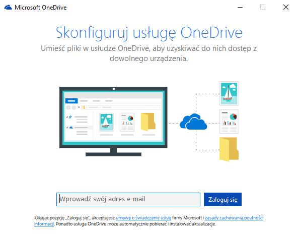 Powitalne okno OneDrive