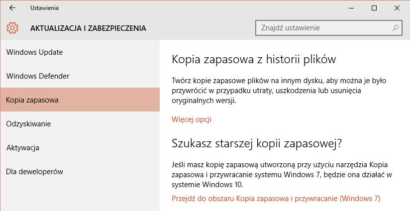 W ustawieniach Aktualizacji i zabezpieczeń szukamy zakładki Kopia zapasowa.