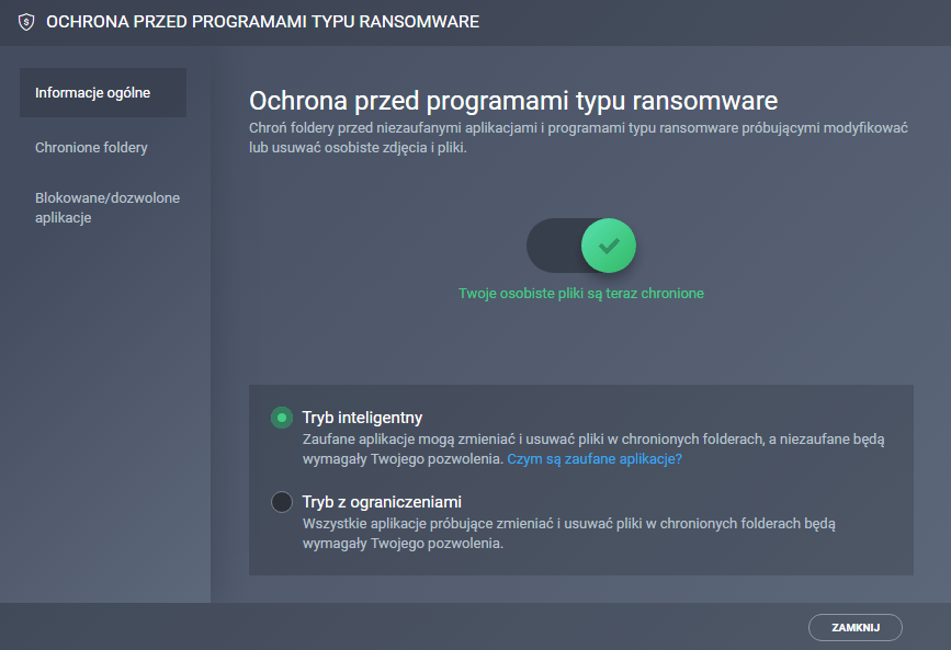 Menu główne Ransomware Protection