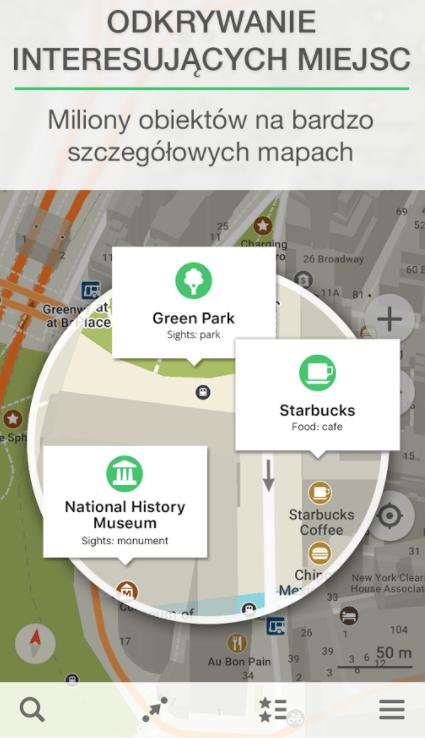 Powiększenie obszaru w MAPS.ME