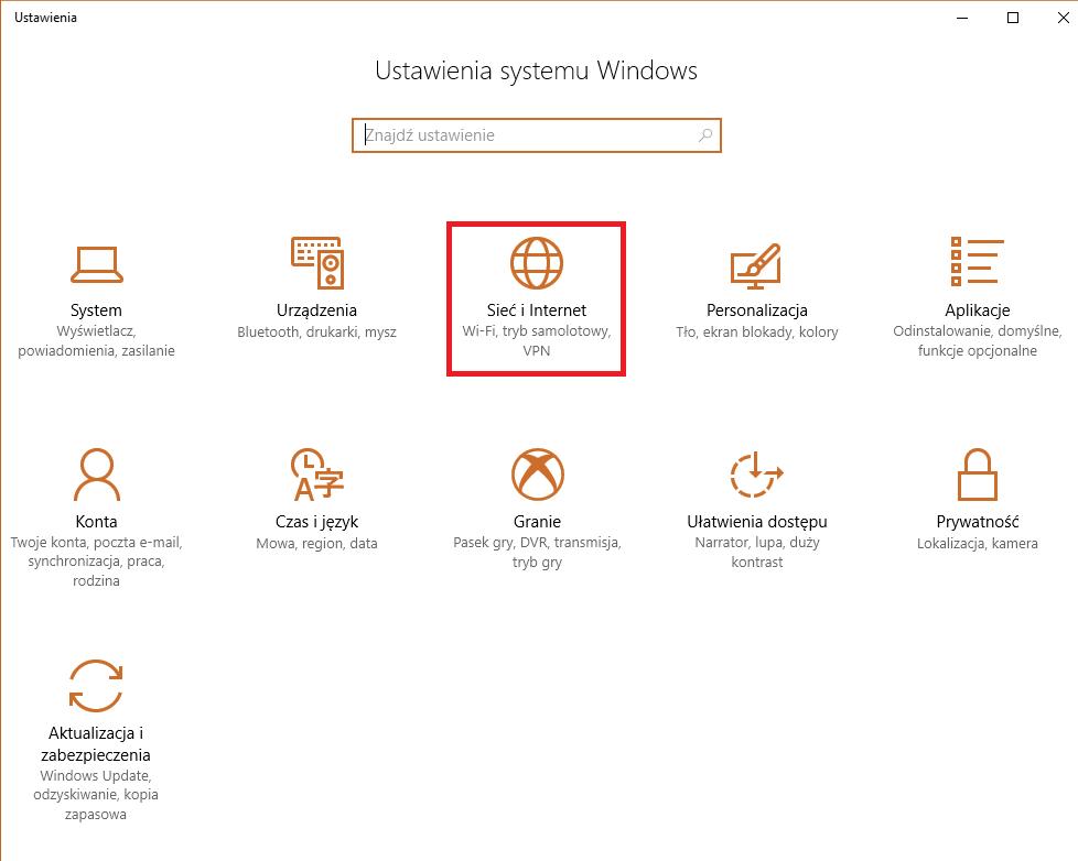 Ogólne ustawienia Windows 10