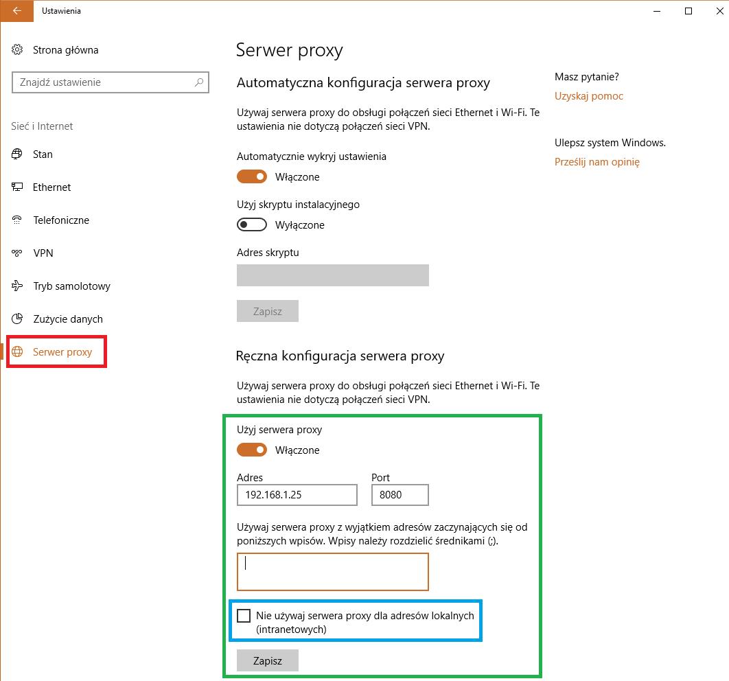 Ustawienia serwera proxy