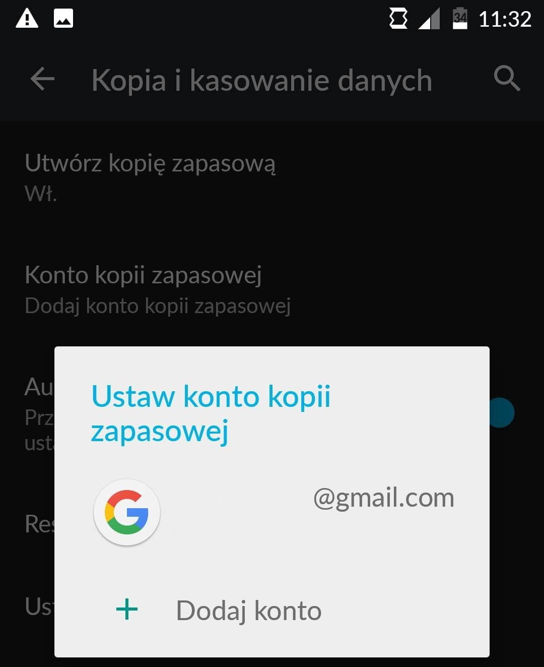 Dodajemy swoje konto Gmail.