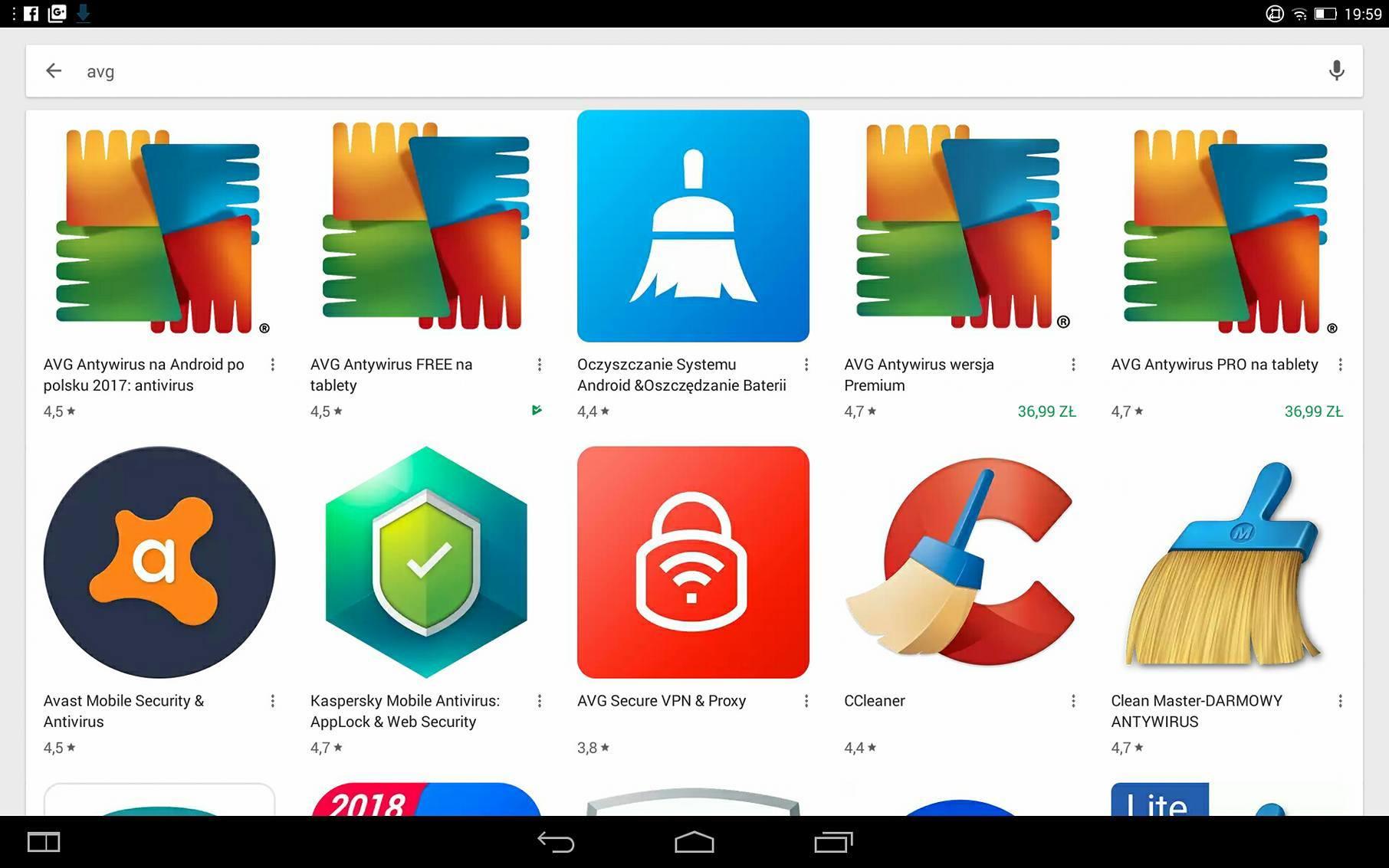 Otwieramy sklep Google Play i wpisujemy szukaną frazę - AVG