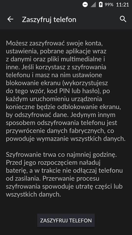 Informacje dotyczące szyfrowania telefonu.