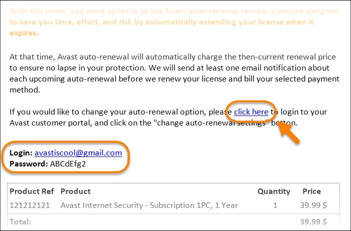 Przykładowy email z licencją i linkiem do anulowania subskrypcji