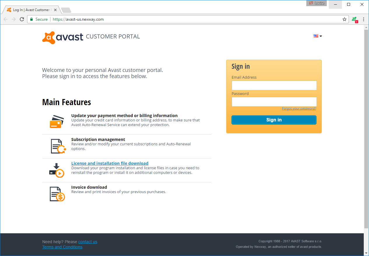 Portal firmy Nexway do zarządzania licencjami Avast