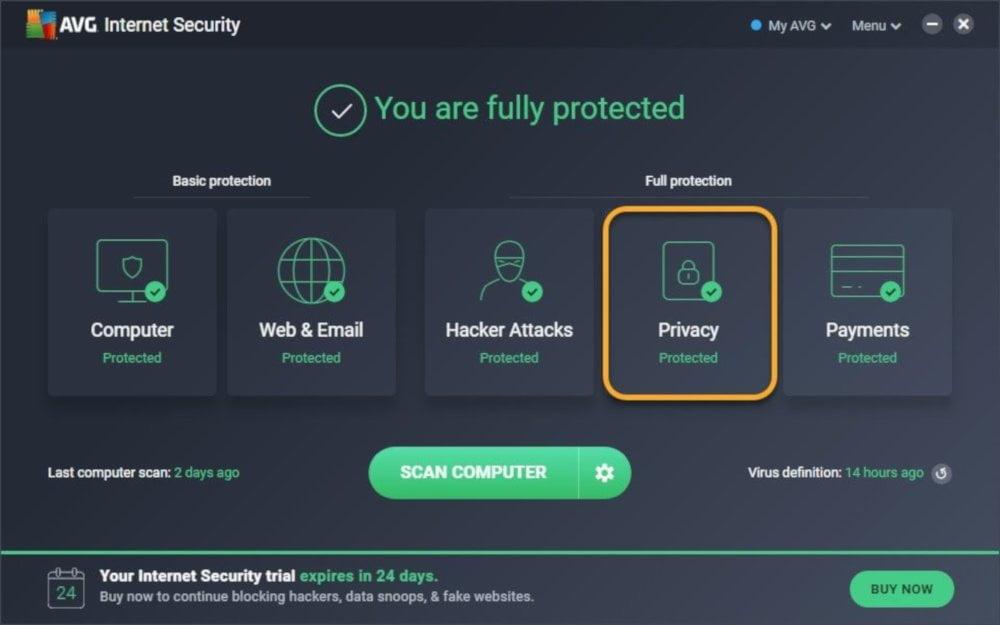 Uruchomienie Ochrony poufnych danych jest bardzo proste. Wystarczy wejść w zakładkę prywatność.