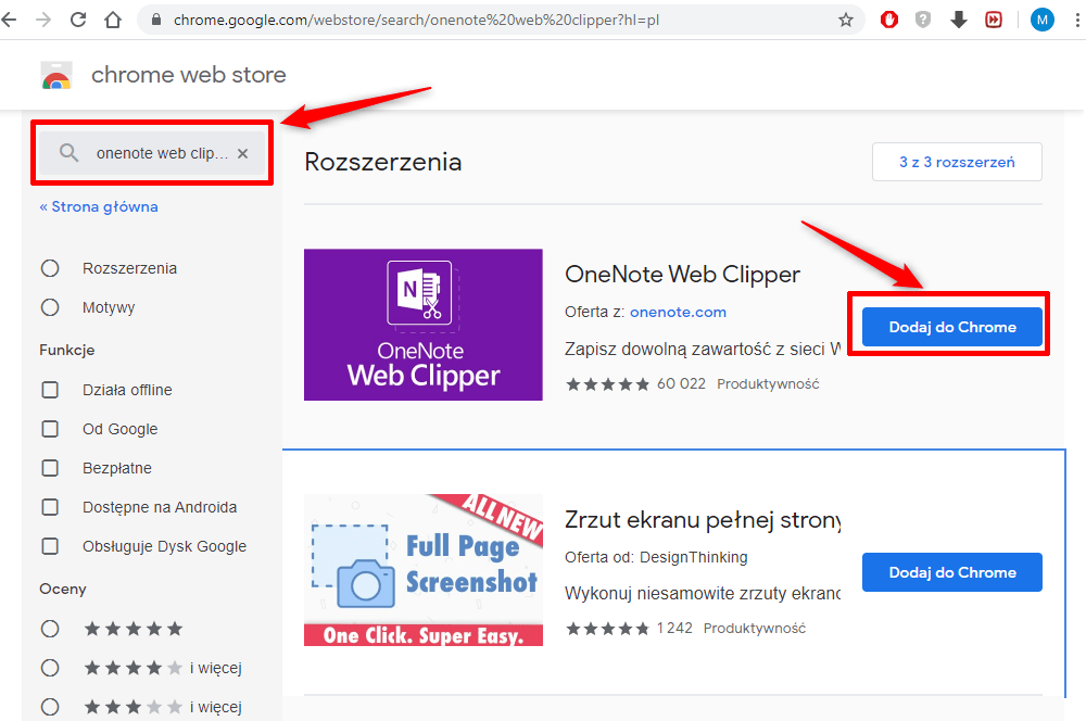 Web Clipper w Google Chrome.