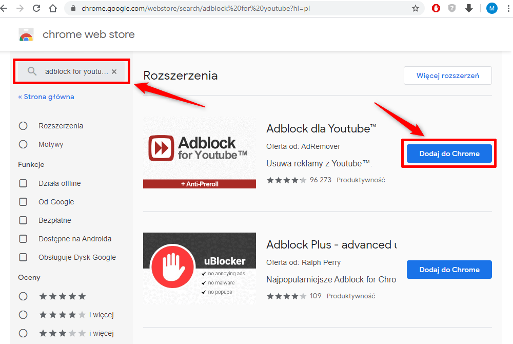 Adblock dla YouTube.