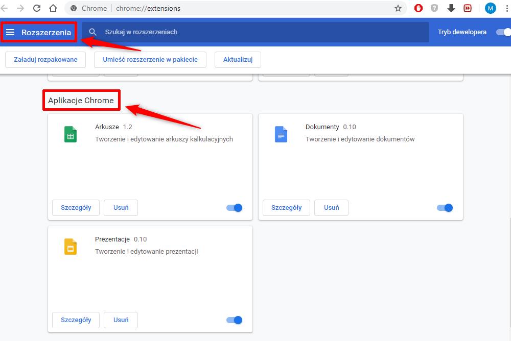 Arkusze i dokumenty w Google Chorme.