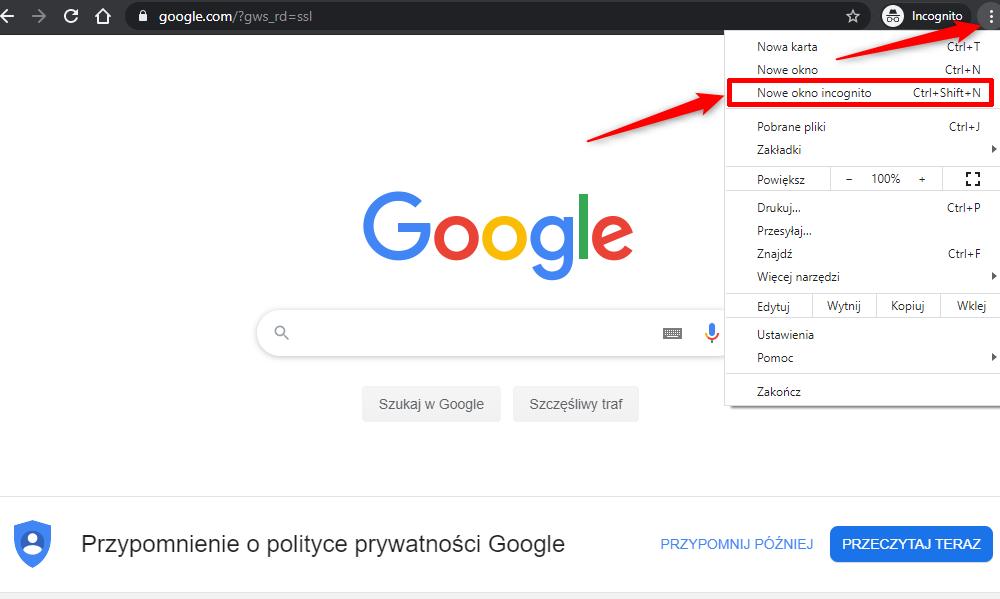 Tryb prywatny w przeglądarce Google Chrome.