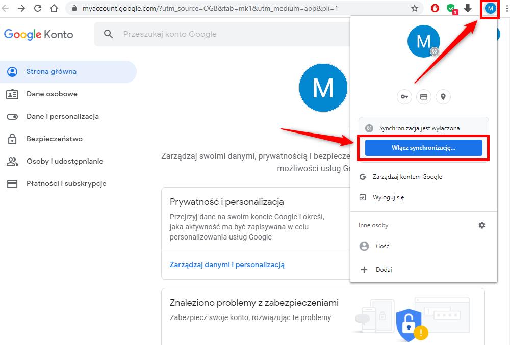 Synchronizacja danych w Google Chrome.