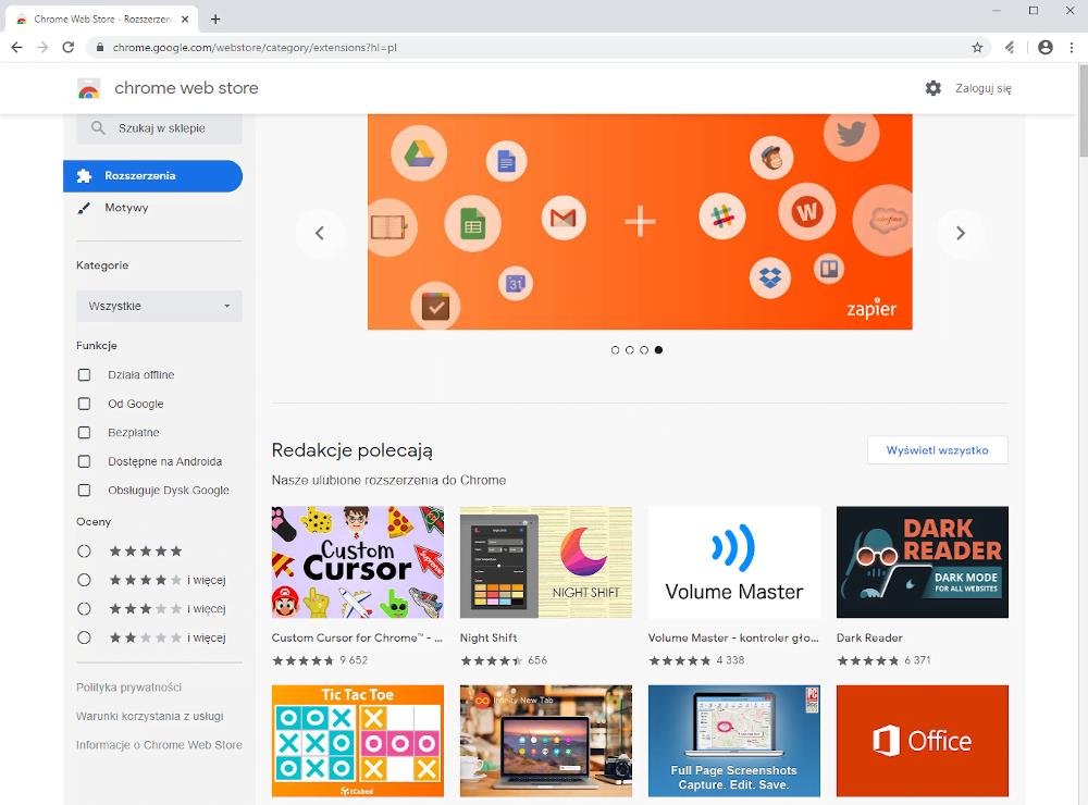 Przeglądarka internetowa Google Chrome.