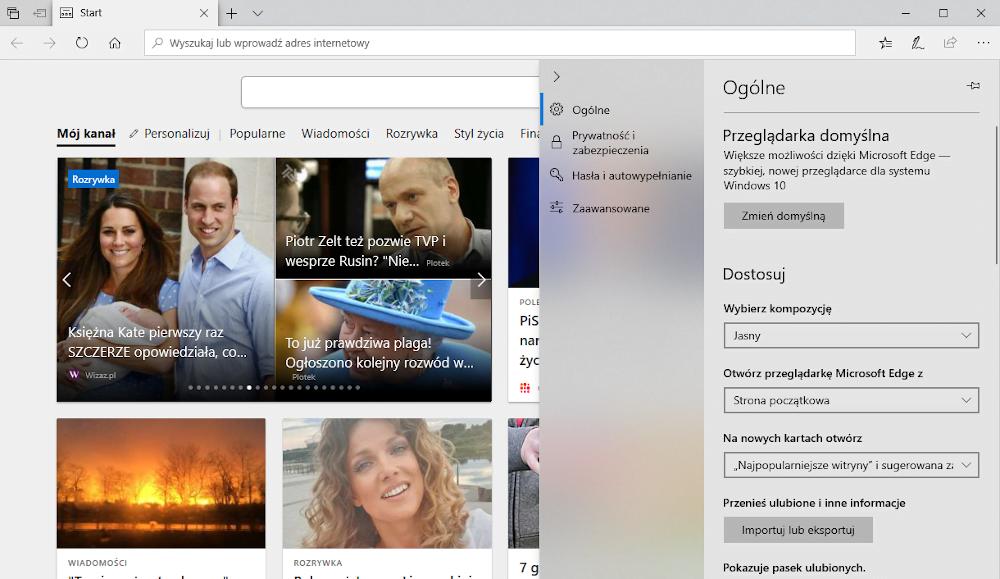 Przeglądarka internetowa Microsoft Edge.