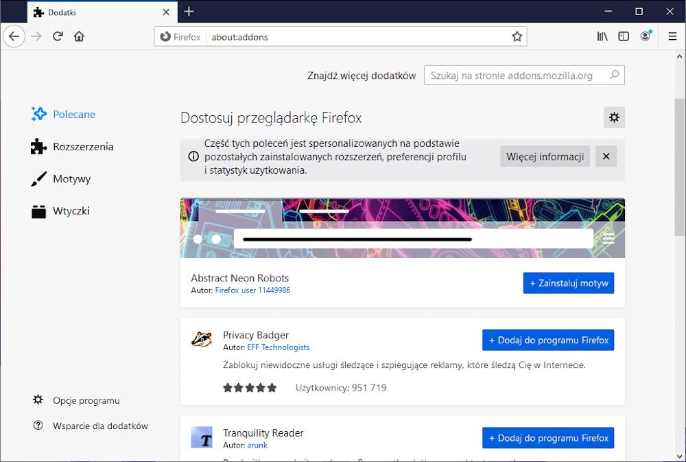 Przeglądarka internetowa Firefox.