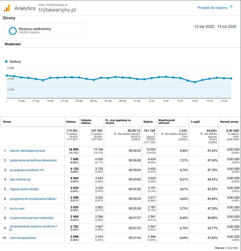 Statystyki Google portalu Trybawaryjny.pl.
