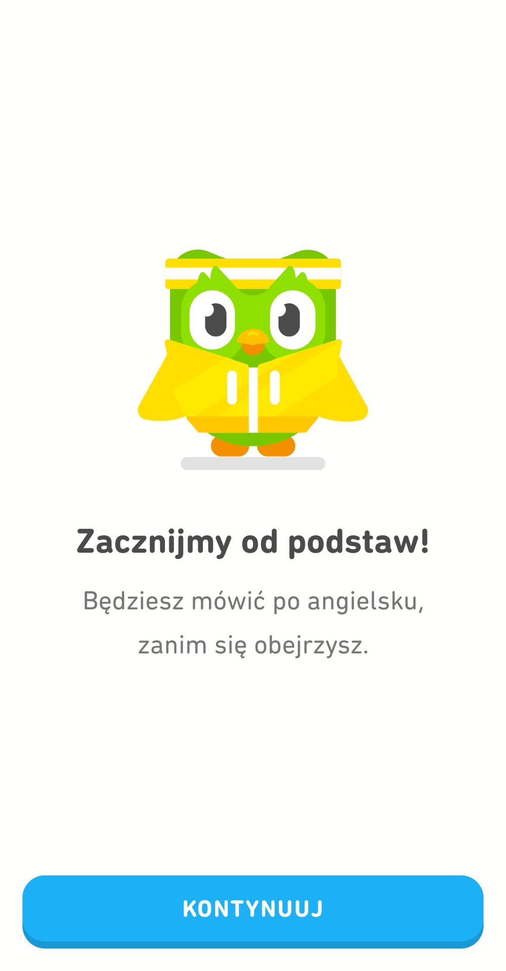 Aplikacja Duolingo do nauki języków obcych.