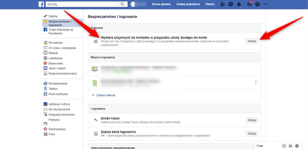 Dodawanie znajomych do listy do odzyskania konta Facebook.
