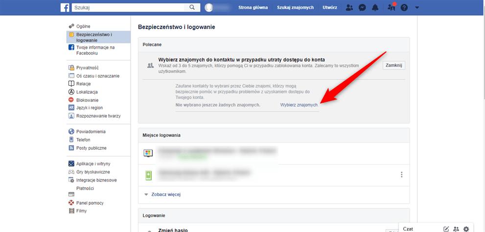 Jak wybrać znajomych z Facebook do listy ratunkowej?