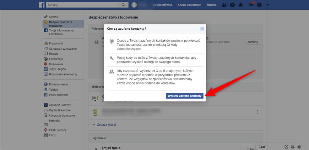 Jak wybrać zaufane kontakty do odzyskania konta Facebook?