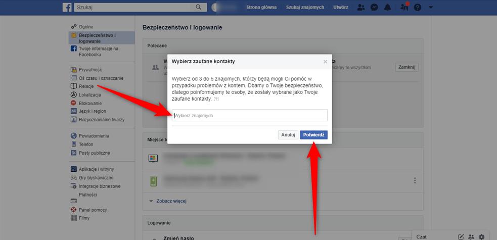 Poradnik jak stworzyć listę zaufanych kontaktów na Facebooku.